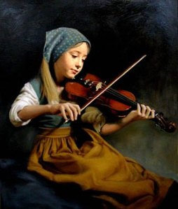 Young girl violin