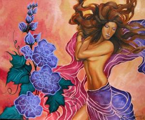 Purple Flowers and Woman Painting