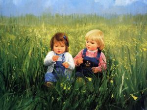painting_children_kjb_DonaldZolan_74FriendshipandFlowers_sm