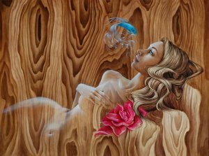 mandy-tsung-painting-woman-betta-siamese-fighter-fish-flower-ethereal-sensual-sexy-girl-model-blonde-blue-eyes