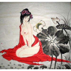 chinese_beautiful_lady_painting_naked_lotus_flower