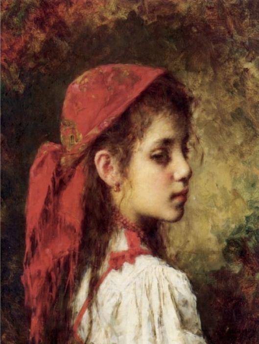 Portraet-eines-jungen-Maedchens-mit-roten-Halstuch-von-Alexei-Alexeivich-Harlamoff-20015