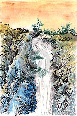 chinese-painting-sunset-waterfall-paper-34238505