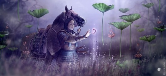 woman_dragon_samurai_lotus_fetus_horse_picture_image_digital_art