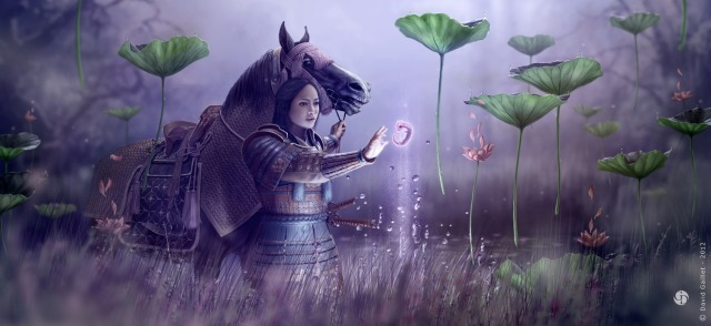 woman_dragon_samurai_lotus_fetus_horse_picture_image_digital_art