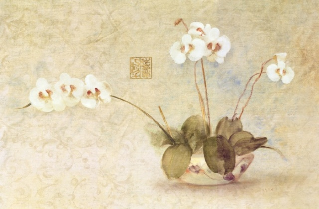 Orchids in a Chinese Bowl