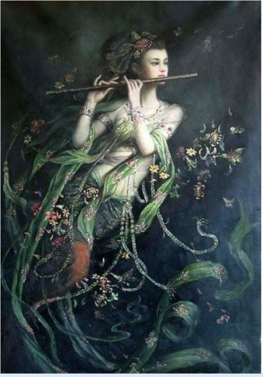 Oil-painting-flying-font-b-China-b-font-font-b-fairy-b-font-girl-Kwan-yin