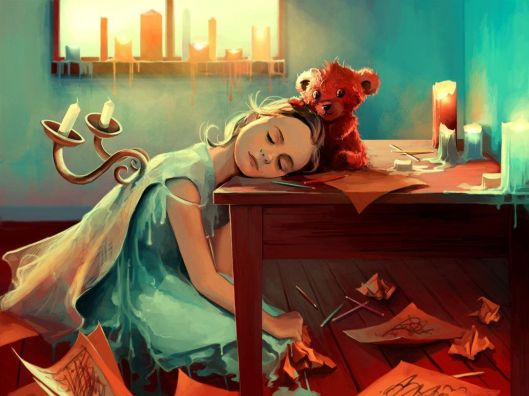 A-cute-Photoshop-painting-of-a-teddy-bear-cuddling-an-artistic-little-girl-who-has-fallen-asleep-while-drawing