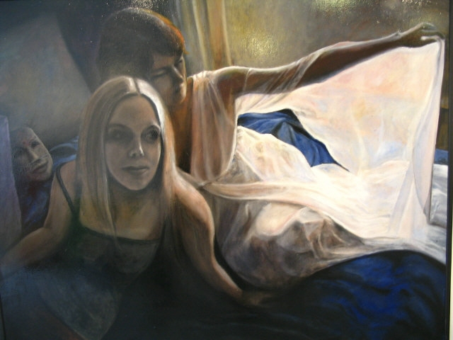 Two Women sitting on a Bed_11