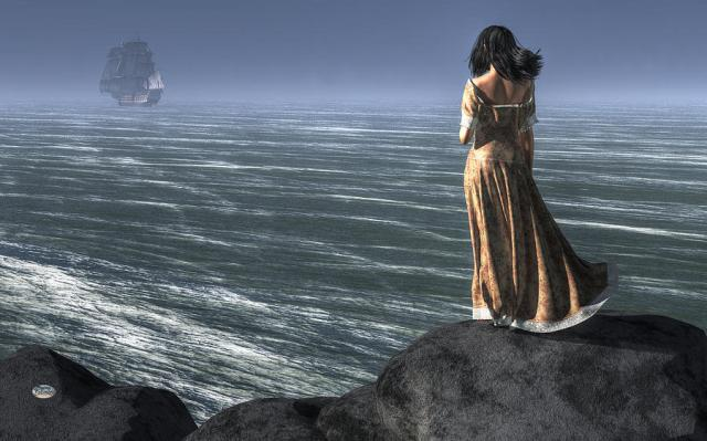 woman-watching-a-ship-sailing-away-daniel-eskridge