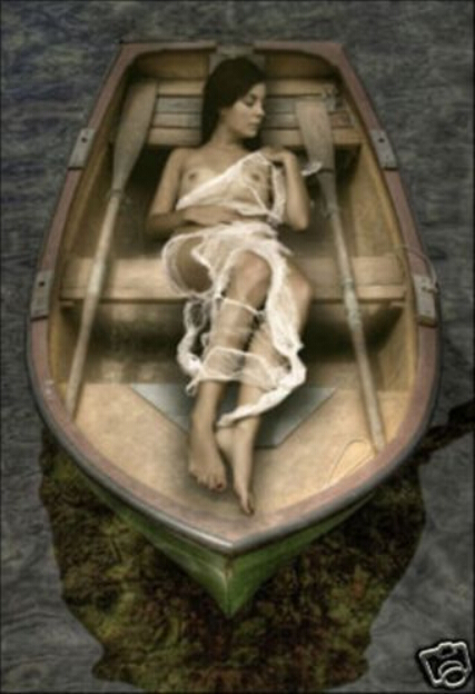 Art-handicrafts-oil-painting-woman-in-the-wood-boat- (1)