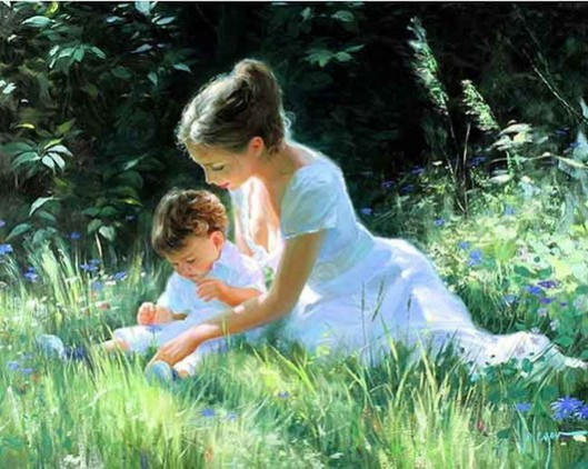 NEW-THE-PRINT-OIL-PAINTING-40-50-THE-GIRL-AND-font-b-MOTHER-b-font-WALL
