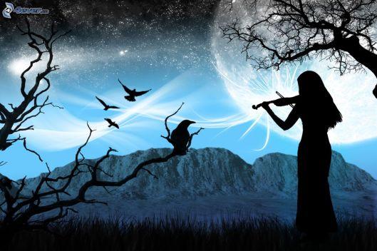 silhouette-de-femme,-violoniste,-le-corbeau,-montagne,-lune,-etoiles-157378